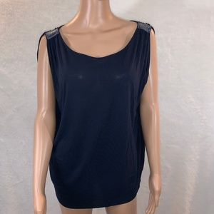 ANN TAYLOR LOFT women's top blue navy size M